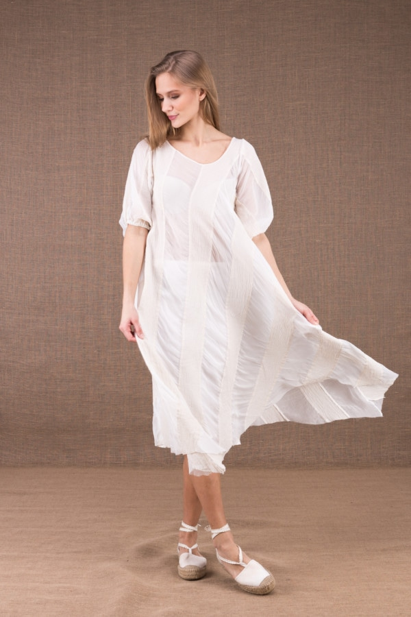 CATALPA flared dress in organic cotton and silk 1