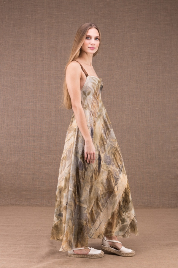 CLARA long flared dress in organic cotton and eco print silk 3
