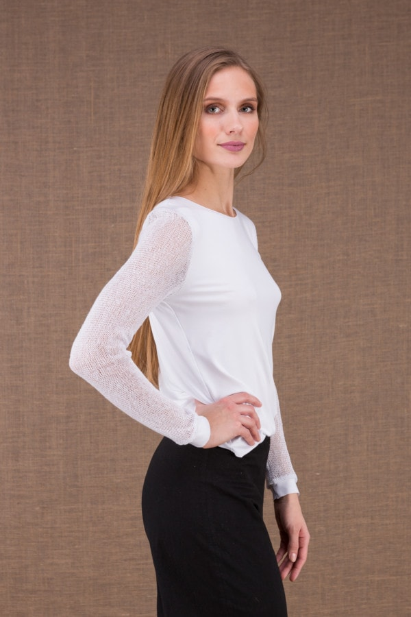 CRO white t-shirt with openwork sleeves 3