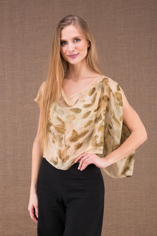 CUMULUS Beige asymmetrical ecoprint silk top 1