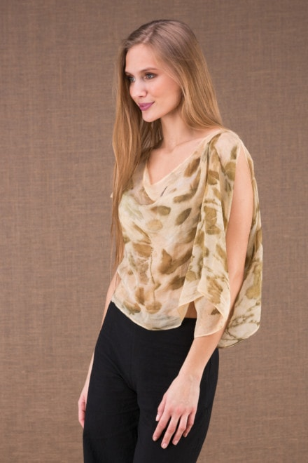 CUMULUS Beige asymmetrical ecoprint silk top 2