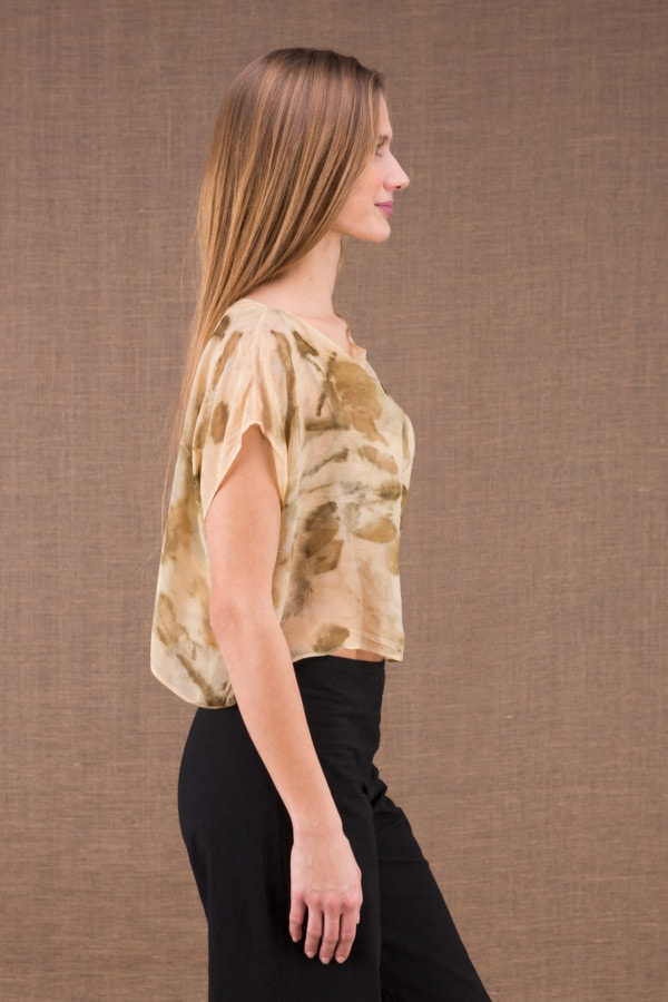 CUMULUS Beige asymmetrical ecoprint silk top 3