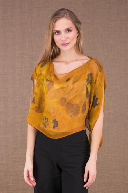 CUMULUS Saffron asymmetrical silk top eco print 2