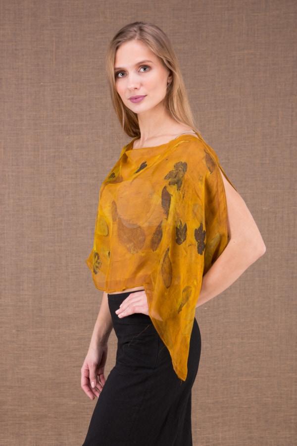 CUMULUS Saffron asymmetrical silk top eco print 3