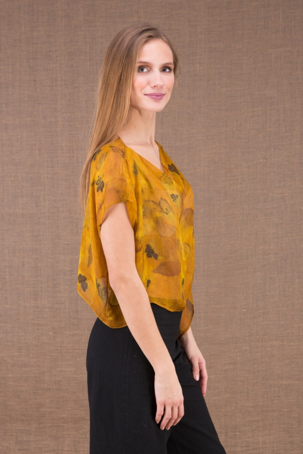 CUMULUS Saffron asymmetrical ecoprint silk top 4