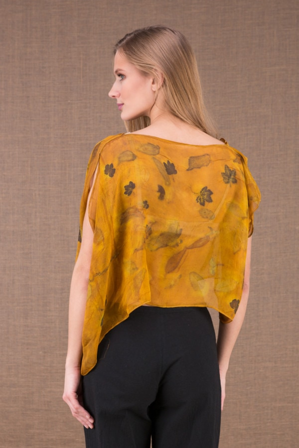 CUMULUS Saffron asymmetrical ecoprint silk top 5