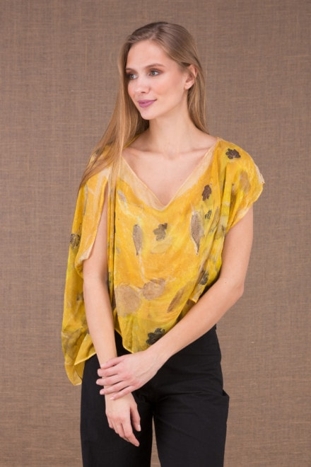 CUMULUS Yellow asymmetrical silk top eco print 1
