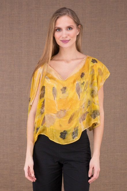 CUMULUS Yellow asymmetrical silk top eco print 2