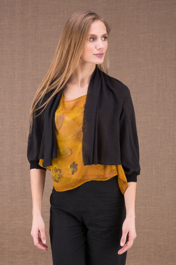 ECLI Black short linen knit jacket 1