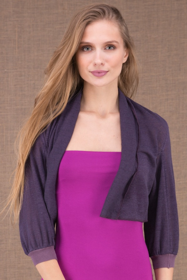 ECLI Plum short linen knit jacket 1