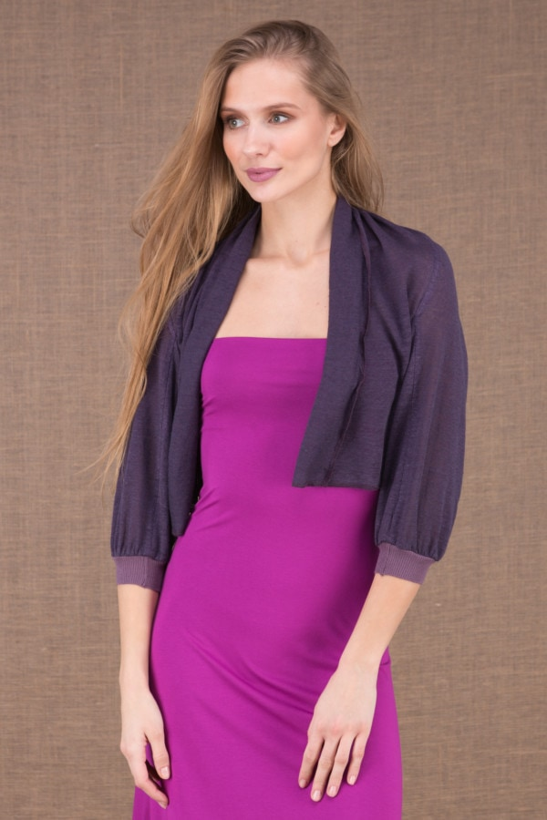 ECLI Plum short linen knit jacket 2