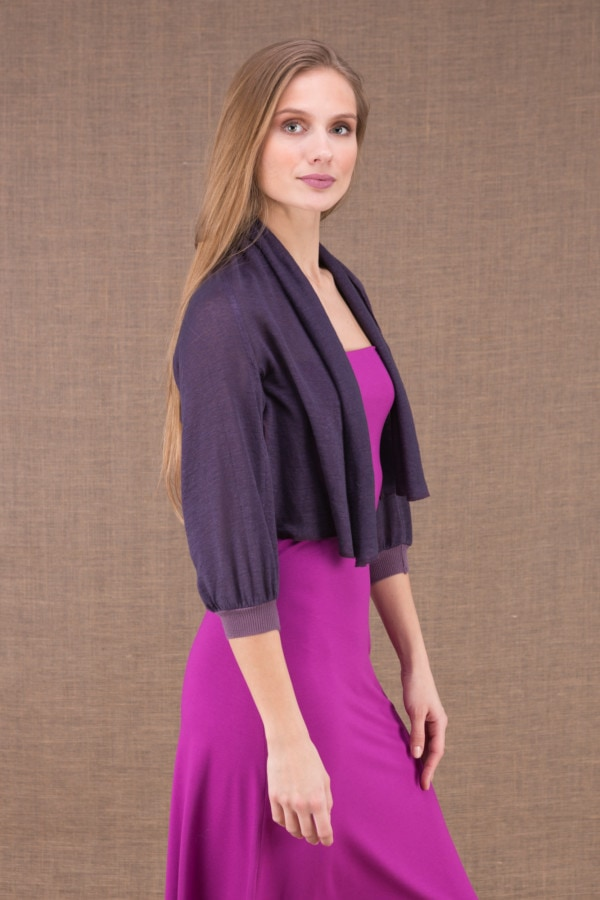 ECLI Plum short linen knit jacket 3