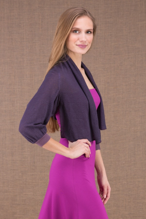 ECLI Plum short linen knit jacket 4