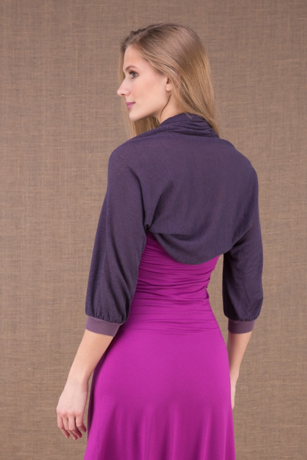 ECLI Plum short linen knit jacket 5