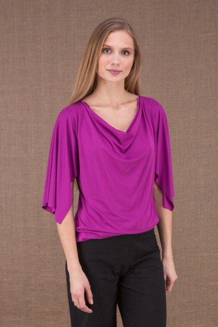 EPI Fushia top with viscose mesh sleeves 1