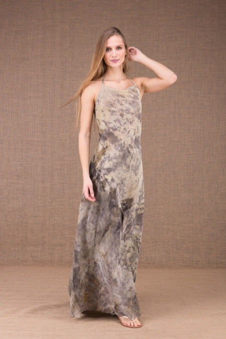 ESTERA organic cotton print backless long dress 2