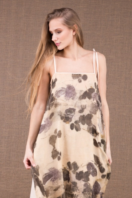 FEE long organic cotton dress with eco print silk apron 1