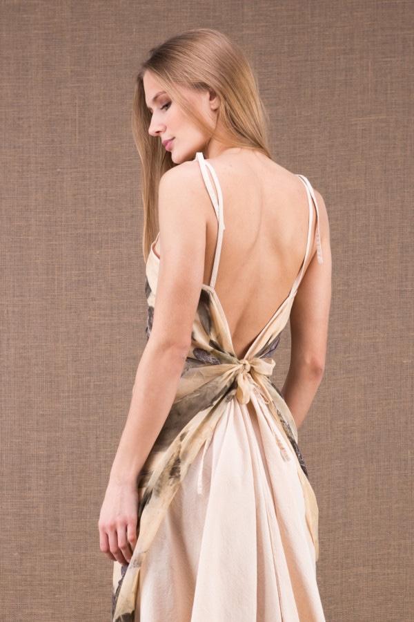 FEE robe longue en coton bio avec le tablier en soie eco print 2