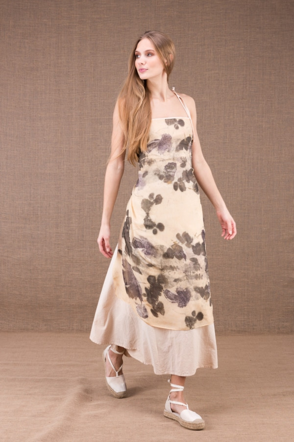 FEE long organic cotton dress with eco print silk apron 4