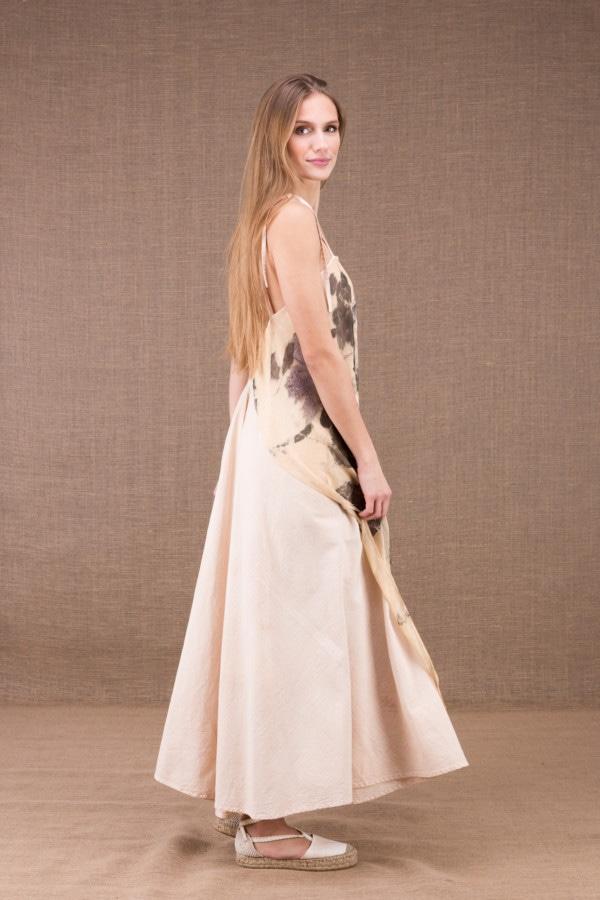 FEE robe longue en coton bio avec le tablier en soie eco print 5