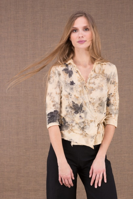 GINKO eco print organic cotton wrap blouse 1