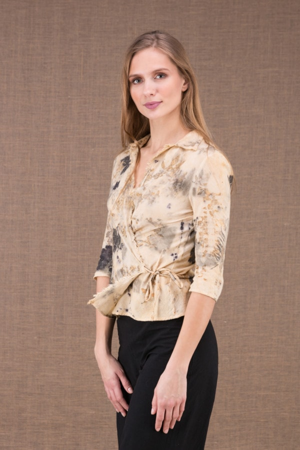 GINKO eco print organic cotton wrap blouse 2