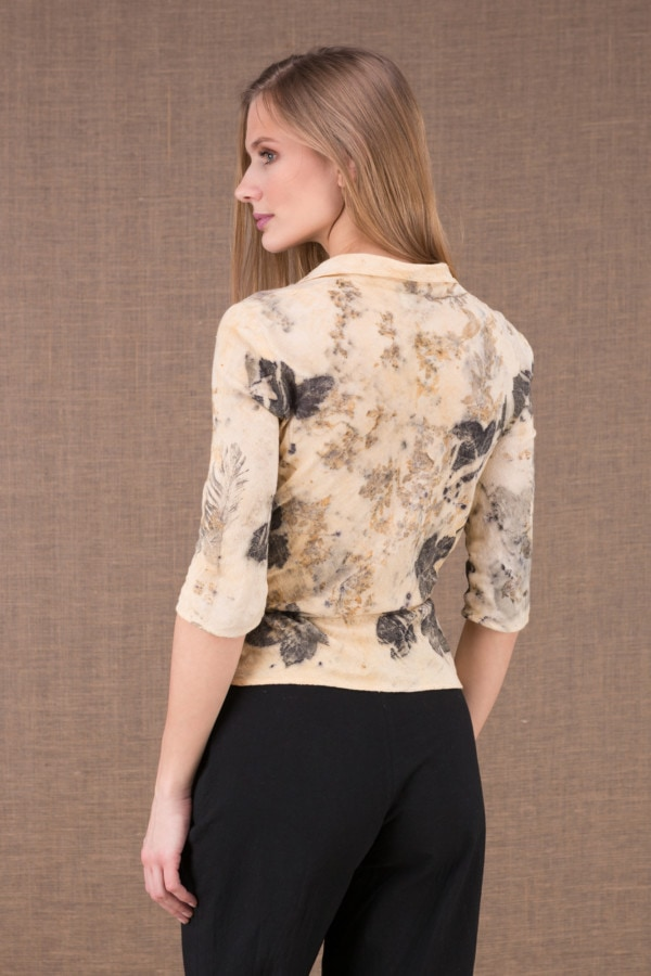 GINKO eco print organic cotton wrap blouse 3