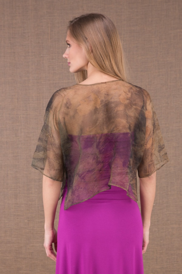 LINA short jacket in eco print silk organza 4