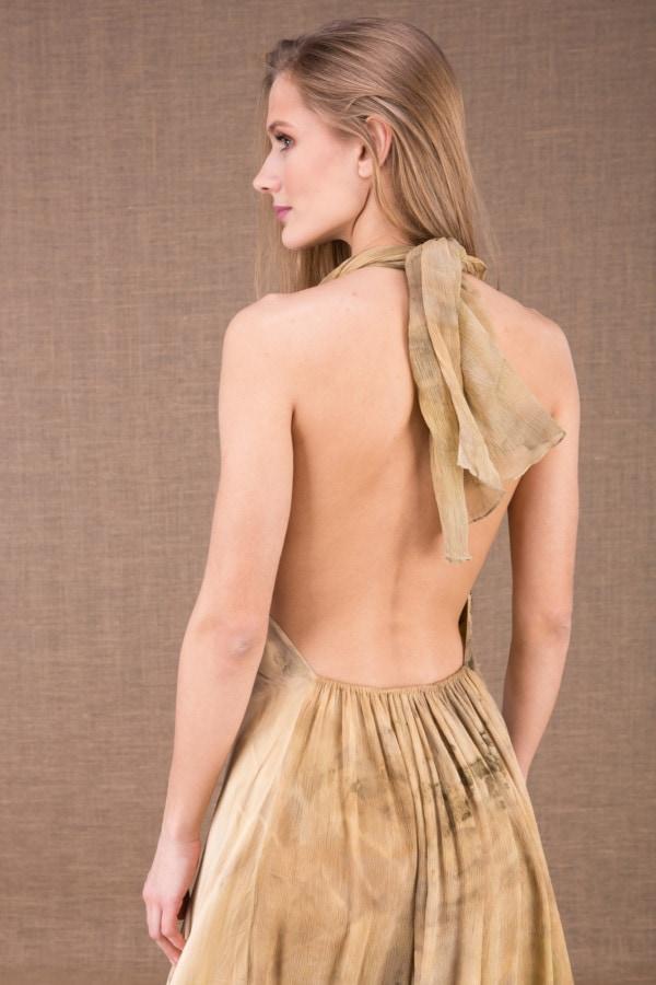 LOLA-eco print silk satin halter dress 1