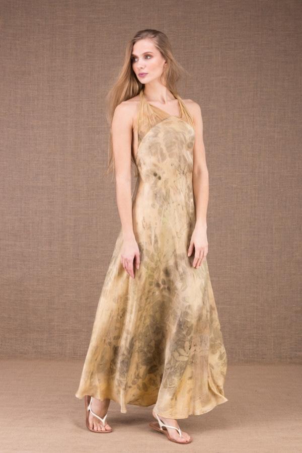 LOLA-eco print silk satin halter dress 2
