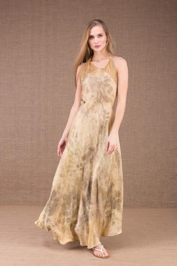 LOLA-eco print silk satin halter dress 3