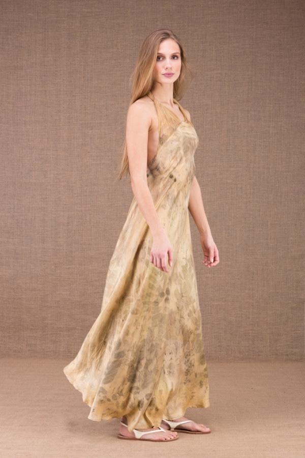LOLA-eco print silk satin halter dress 4