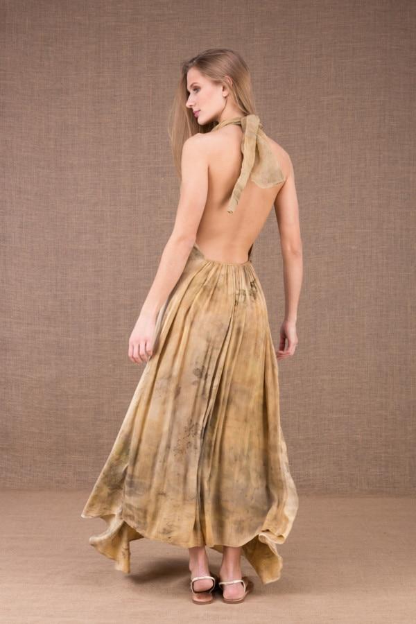 LOLA-eco print silk satin halter dress 5