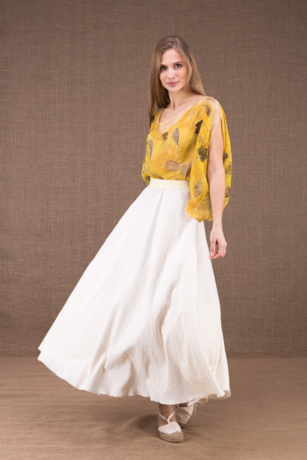 MAYA long flared skirt in organic cotton 1