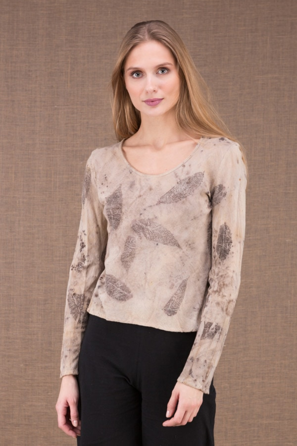 MIKA Beige organic cotton eco print t-shirt 2
