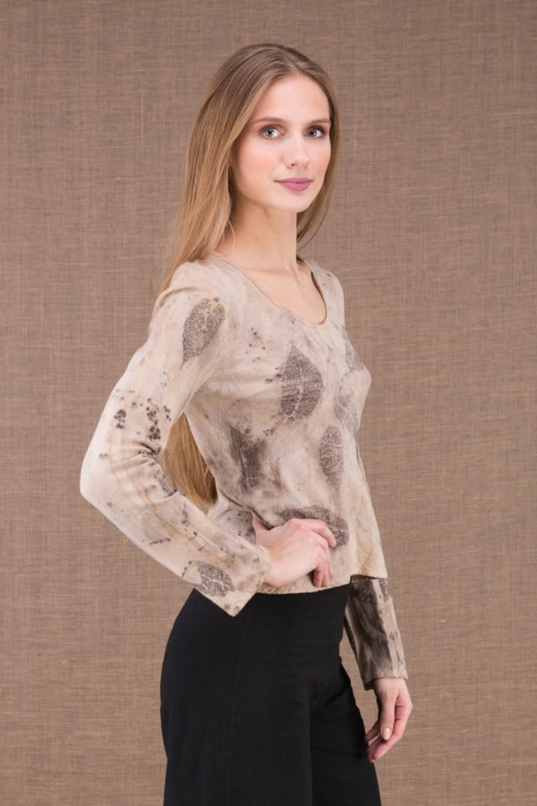 MIKA Beige organic cotton eco print t-shirt 3
