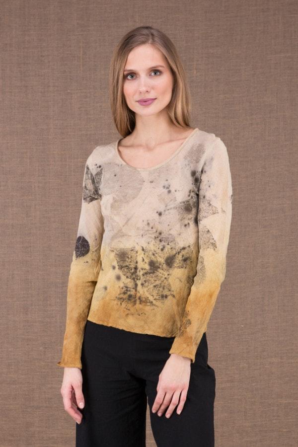 MIKA Turmeric organic cotton shirt eco print 1