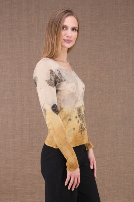 MIKA Turmeric organic cotton shirt eco print 2