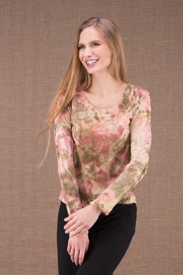 MIKA Rose shirt en coton bio eco print 1