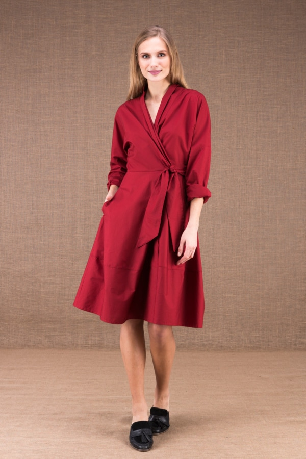 POLARIS Burgundy mid-length dress in cotton poplin 1