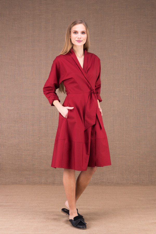 POLARIS Burgundy mid-length dress in cotton poplin 2
