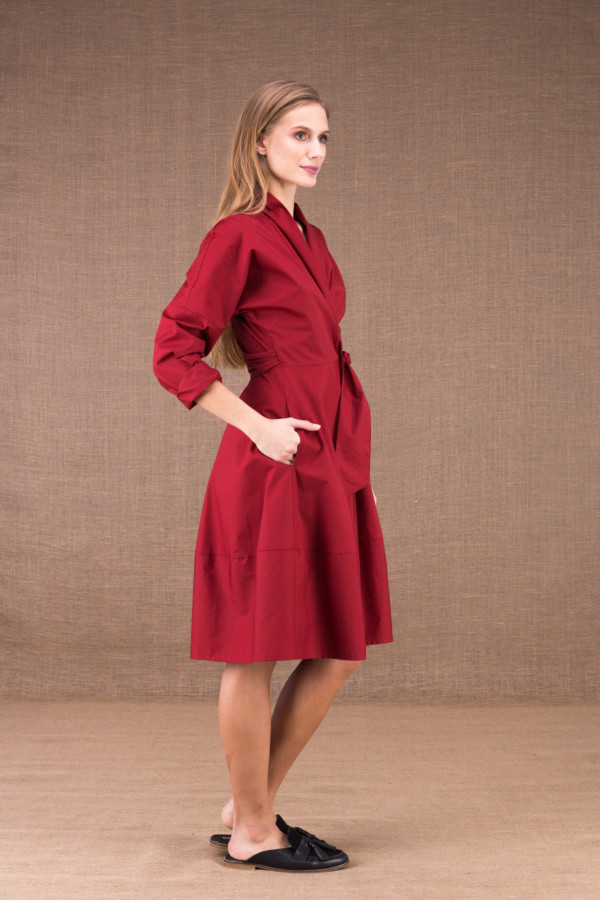 POLARIS Burgundy mid-length dress in cotton poplin 3