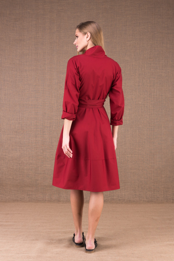 POLARIS Burgundy mid-length dress in cotton poplin 6