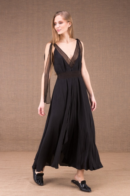 RIAMA 1Black viscose long flared dress