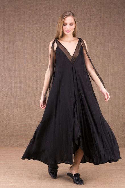RIAMA Black viscose long flared dress 2