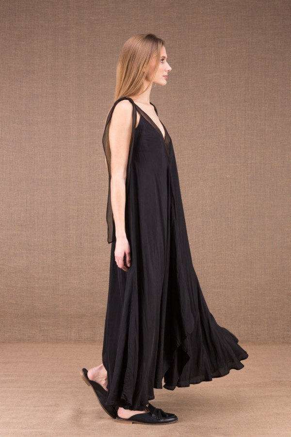 RIAMA Black viscose long flared dress 4