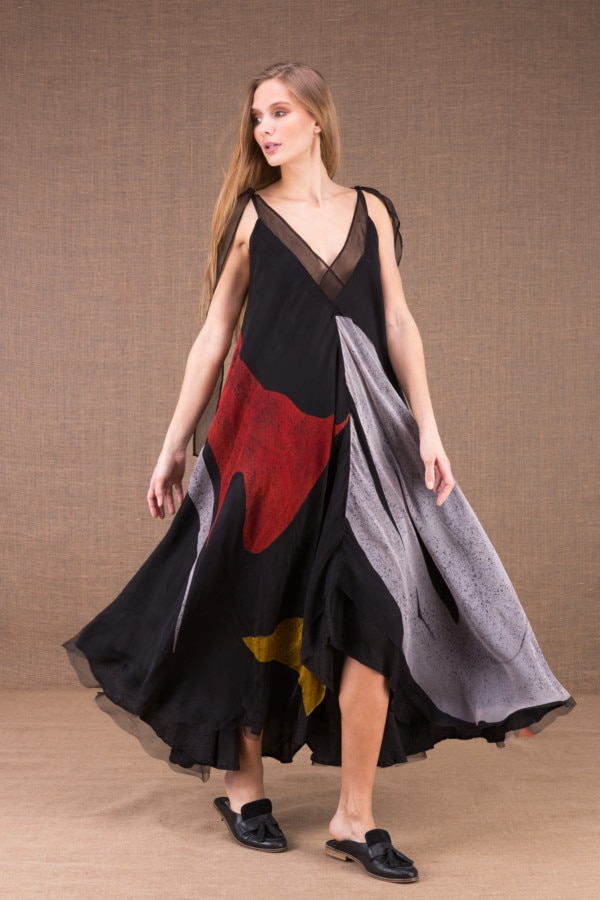 RIAMA Multicolour long flared dress in hand painted silk 1
