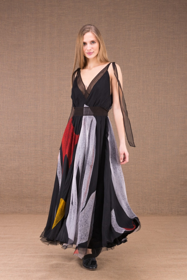 RIAMA Multicolour long flared dress in hand painted silk 3