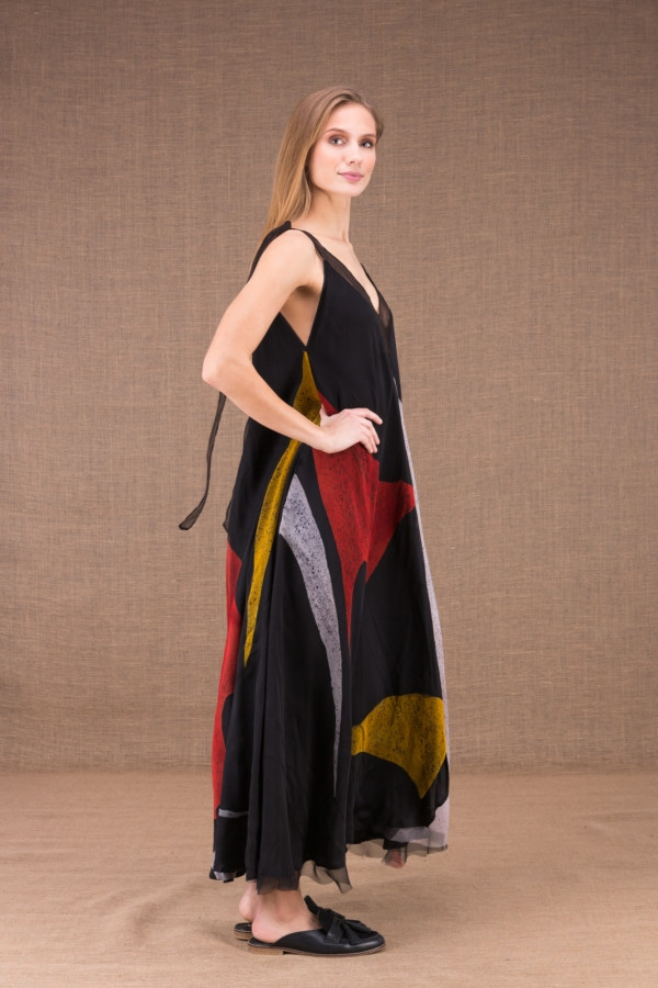 RIAMA Multicolour long flared dress in hand painted silk 4