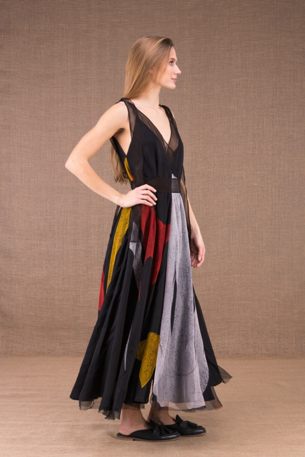 RIAMA Multicolour long flared dress in hand painted silk 5